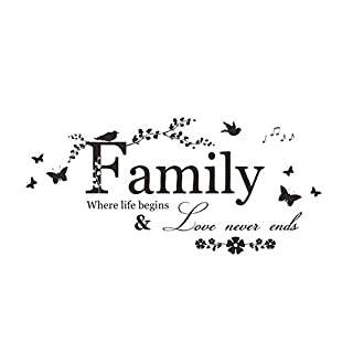 ouken Family Theme Wall Decal Waterproof Removable DIY Art Stickers Wall Decal Words Bedroom Living Room