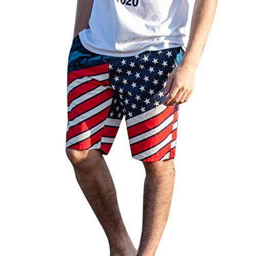 s Amerikanische Flagge Badehose Boardshorts Herren Lose Freizeithose Sommer Atmungsaktiv Sweatshorts Outdoor(Dunkelblau,XXX-Large) ()
