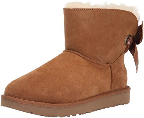 UGG Women's W Customizable Bailey Bow Mini Fashion Boot, Chestnut, 6 M US