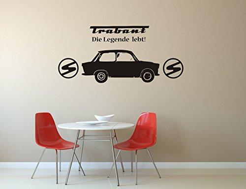 """Trabant, Wandtattoo, Wandaufkleber, Trabi - \""""Die Legende lebt!\"""" - verschiedene Größen (M010 Weiß, 1000 mm x 450 mm)"""