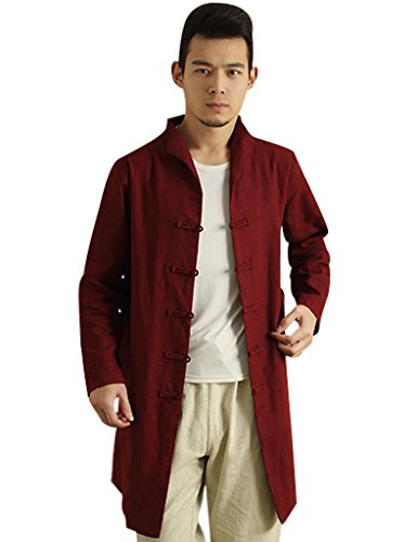 Youlee Hommes Pied de col Front Frogs Side Slit Trench Coat Rouge sombre