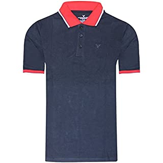 American Eagle Outfitters 2k18Apr New Mens Polo T Shirt Pique Cotton Designer Top Tee[Navy with Red Contrast,S]