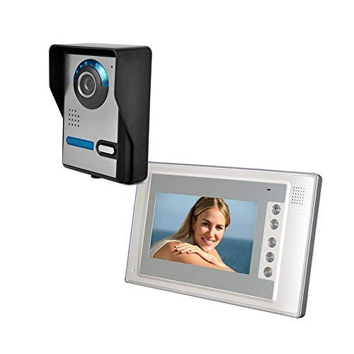 XHZNDZ 7-Zoll-Video-Türsprechanlage Türklingel Intercom-System mit 1 Kamera TFT-LCD-Bildschirm mit 1 Monitor Unlock IR Night Vision Rainproof Home Security