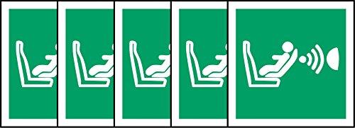 ISO Safety Sign Label International Kindersitz Präsenz und Ausrichtung Erkennung System (cpod) Symbol–Sticker Selbstklebend 200mm x 200mm x 200mm (5Stück Aufkleber)