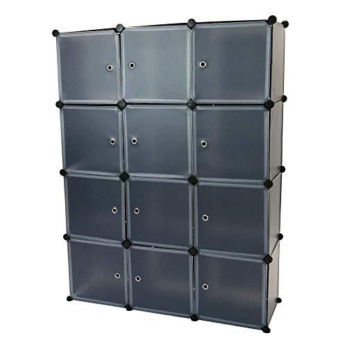 PrimeMatik - Armario Organizador Modular Estanterías de 12 Cubos de 35x35cm plástico Negro con Puertas