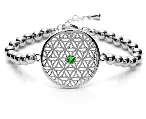 Silvity fiore della vita bracciale da donna con crystals from cristalli swarovski® 959001p 20 e ottone, colore: argento-verde, cod. 959001-p-20