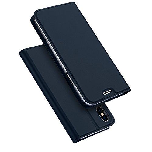 DUCIS Holster,Automatischem Schlaffunktion Case Cover,Standfunktion,Ultra Slim,Kartenfach,Magnetverschluss,Skin Series Layered Dandy,Flip Ledertasche Schutzhülle für iPhone X (Blau) (Iphone Stand-up-fall)