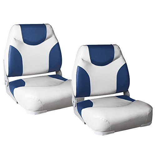 [pro.tec] 2X Bootssitze \'Exclusive - Line\' (blau - Weiss) im Sparpaket - aus wasserfestem Kunstleder/Steuerstuhl/wasserfest/gepolstert/Kapitänsstuhl/Angelsitz/UV- beständig