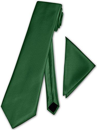 Herren Krawatte klassisch mit Einstecktuch Klassik Anzug Satinkrawatte - 30 Farben (Dunkel Grün)