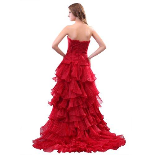 Sunvary Romantic Sweetheart una linea abiti da sera lunga organza abiti da ballo Red