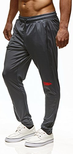 LEIF NELSON - Pantalon - Homme Anthracite/rouge