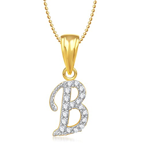 Valentine Gifts MEENAZ 'B' LETTER PENDANT LOCKET GOLD PLATED ALPHABET HEART FOR MEN AND WOMEN...