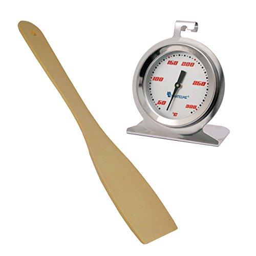 Edelstahl Bimetall Backofen - Ofen Thermometer . Backofenthermometer bis 300 °C Analog mit Holz Pfannen / Fleischwender als Set