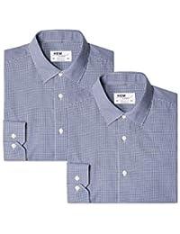 Hem & Seam Camisa de Cuadros Vichy Regular Fit Hombre, Pack de 2