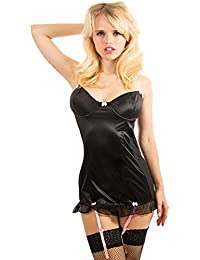 Yummy Bee - Nuisette Babydoll Satin Porte-Jarretelles Chemise Teddy Luxe Grande Taille 36 - 58