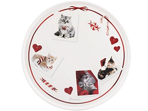 Home Cats Assiette à Tarte, Faience, Blanc/Rouge, 30 cm