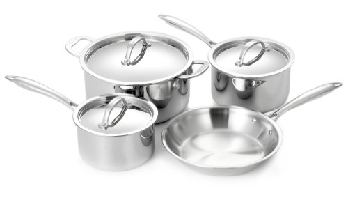 Cuisinox 7 Piece 18/10 Stainless Steel Super Elite Cookware Set Tri-Ply Bonded Dishwasher Safe