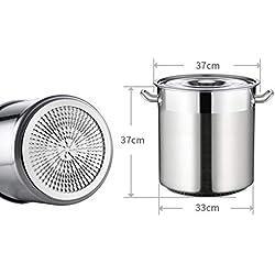 WEIFAN-Kitchen Pot Cubo de Acero Inoxidable Tambor Espesado Olla de Sopa de cocción Profunda con Tapa Cubo de Agua para Uso doméstico Cubo de arroz Multiusos de 30L / 35cm de diámetro