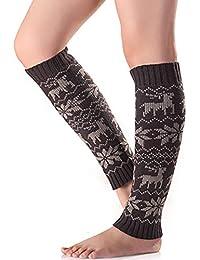 Ouken Las piernas del Knit calientan la Pierna Larga de los Calcetines (Gris Oscuro) 1pair