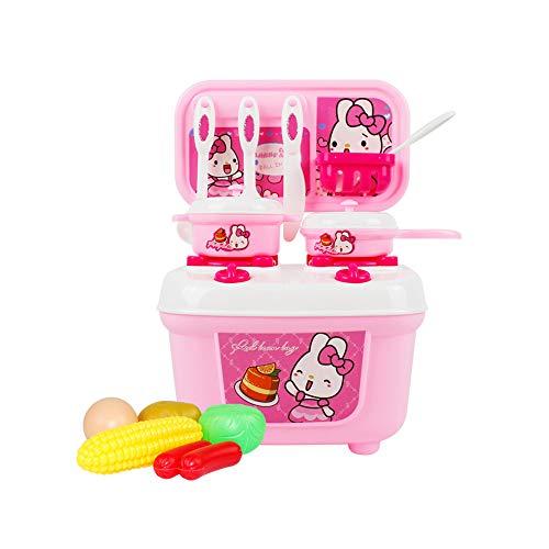 Kunststoff Pretend Küche Kits Reise-Koffer-Play-Küchen-Set bestehend Spielzeug Töpfe Pfannen Utensilien Foods Spiele Spielzeug Kitchen Startseite Vorschullernspiel für Kinder Rosa 1Set (Set Play Pfanne Topf Und)