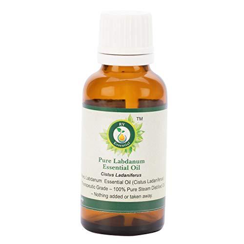 R V Essential Reines Labdanum Ätherische Öl 5ml (0.169 Unzen) - Cistus Ladaniferus (100{3654b3087f836dac53b97d0f444929ba72bf85970ed6ddc43513a4dff45e0dad} reiner und natürlicher Dampf destilliert) Pure Labdanum Essential Oil