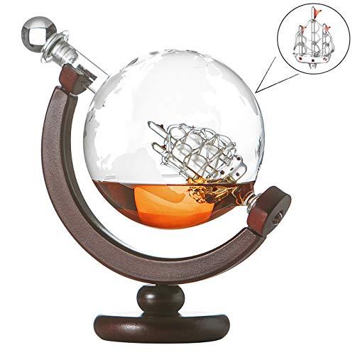 Whiskykaraffe Globus Segelschiff mit gravierter Weltkarte, Karaffe mit Holzständer, Whisky Flasche mit luftdichtem Verschluss, Decanter 850ml aus Handarbeit, Geburtstagsgeschenk für Männer