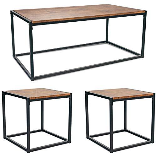 Harbour Housewares Articles ménagers Port Tables industrielles Table & Side Café - Bois foncé/Cadre en Acier - Ensemble de 3