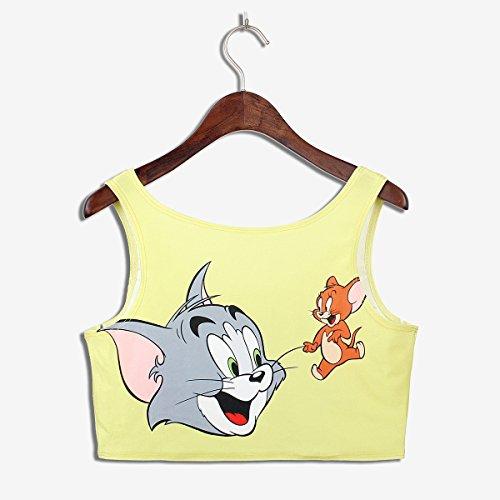 Thenice Damen Top, Animalprint Mehrfarbig mehrfarbig Cat Mouse