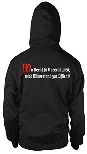 Wo Recht zu Unrecht wird Männer und Herren Kapuzenpullover   Revolution Osten Aufstand Putsch   FB (4XL, Schwarz)