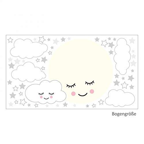 Cloud Wandtattoo (nikima Schönes für Kinder 135 Wandtattoo Vollmond mit Wolken und Sternen grau weiß - in 6 vers. Größen - süße Baby Kinderzimmer Wanddeko Aufkleber Sticker - Größe 1500 x 840 mm)