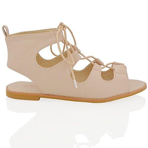 Essex Glam Sandalo Donna Gladiatore con Lacci Peep Toe Pelle Sintetica Carne Pelle sintetica