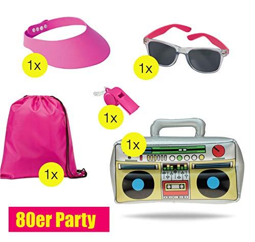 TK Gruppe Timo Klingler XXL Set 80 er 90 er Jahre Kostüm Outfit Bad Taste Assi Accessoires neon Set - mit Ghettoblaster UVM. Damen, Herren Fasching Karneval - 80er Jahre Kostüm Für Gruppen