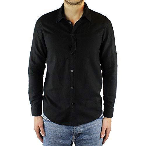 Ciabalù camicia uomo lino slim fit nera manica lunga collo francese estiva serafino sartoriale casual spiaggia s m l xl xxl (l)