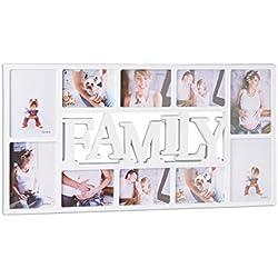 Relaxdays 10021854_49 Cornice per 10 Foto Family, Portafoto Multiplo da Parete, HLP: 36,5 x 72 x 2 cm, Bianco
