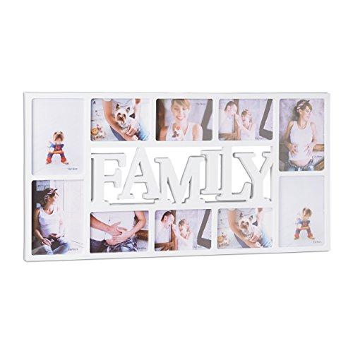 Relaxdays Marco de Fotos Múltiple Family para 10 Fotos, Plástico, Blanco, 36.5x72x2 cm