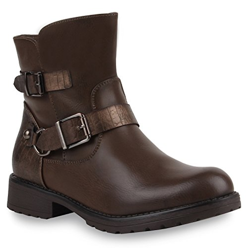 Damen Stiefeletten Biker Boots Lederoptik Schuhe Stiefel Khaki