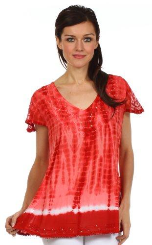 Sakkas Natasha Sequin Tie Dye Blouse Rouge