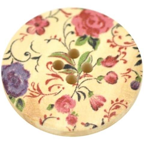 Pack de 10 Botones con estampado floral Rosa y Morado 4 Agujeros Redondos de madera para Costura decoración manualidades joyería punto