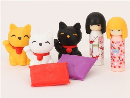 erasers 7 pieces rubber set Kokeshi dolls & lucky cats