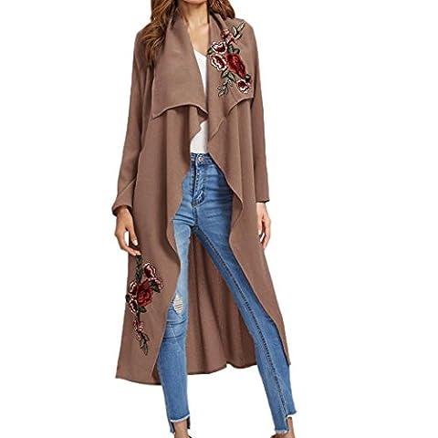 Bluestercool Manteau Femmes Manche Longue Applique Longue Outwear Blousons (M, Rose)