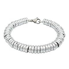 Idea Regalo - ParticolarModa Bracciale stile dodo anelli singoli per donna in alluminio e acciaio Dorato Argentato 7 mm