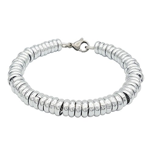 ParticolarModa Bracciale stile dodo anelli singoli per donna in alluminio e acciaio Dorato Argentato 7 mm