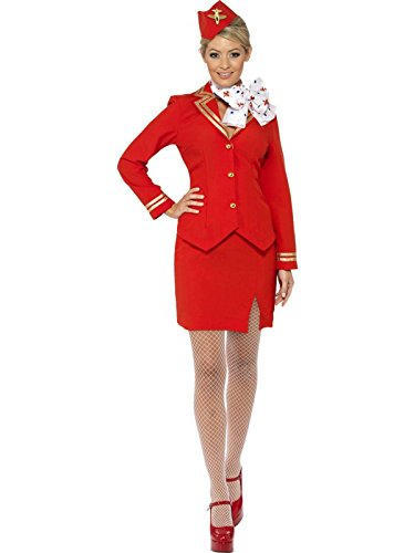 Air Fancy Kostüm Hostess Dress - Trolley Dolly 80s Air Stewardess Hostess Cabin Crew Fancy Dress Costume UK 8-20 RED MEDIUM