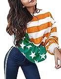 Pullover Damen Locker, Teenager Mädchen Streifen Patchwork Langarm Pullover USA Flagge Gedruckt Sweatshirt Gestreift Pulli Langarmshirts Sweatjacke Oberteile Tops Shirts Hemd Bluse (Gelb, S)