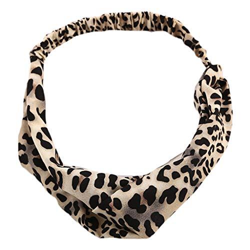 VIccoo Frauen Boho Vintage Leopard Digitaldruck Haarband Stoff Kreuz verknotet breites Stirnband dehnbar Sport waschen Gesicht Headwrap Turban - Beige -