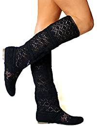 Mujer Verano Botas Plano Zapatos Elegante Respirable Gladiador Bordado Slip-On Zapatos Moda Malla Alto Botas 35-41 Juleya