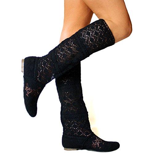 Yying Damen Sommer Stiefel Stiefeletten Flach Stickerei Hohe Stiefel, Sexy Mesh Schlupfstiefel, Slip-on Schuhe Boots Schwarz 41 (Hohe Flache Schwarze Stiefel)
