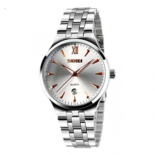 Qbd uomo lusso in acciaio INOX Band Business casual orologio da polso uomo luminoso analogico (Carrello Jumbo In Acciaio)