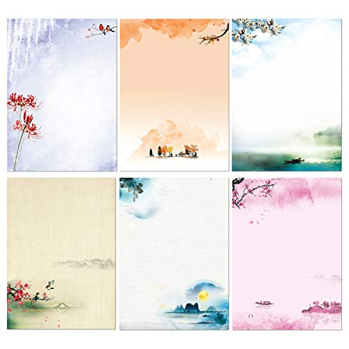 Schreibwaren-Set, japanisches Schreibpapier, 48 Stück, Schreibpapier und Umschläge, Farbmal-Design, 48 Briefpapier + 24 Umschläge