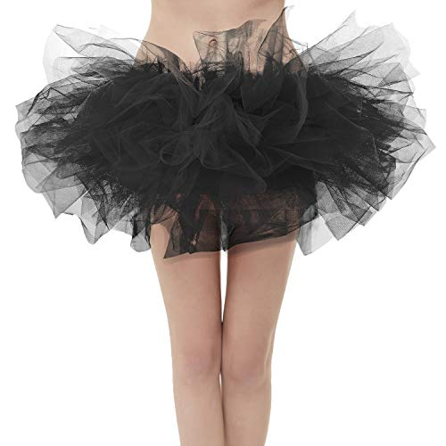 50er Mini Tüll Tutu Puffy Ballett Bubble Rock Schwarz-Standard Size ()
